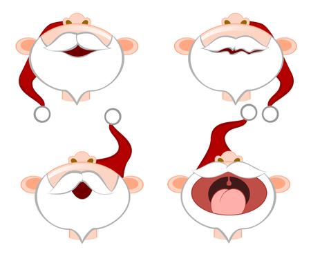 Set of funny emoticons santa clauses vector illustration Illustration