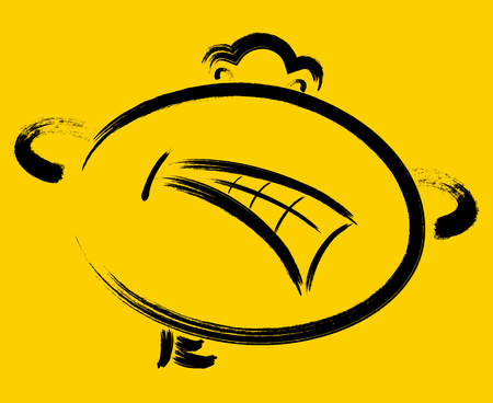 Angry emoticon on yellow background vector illustration. Illustration