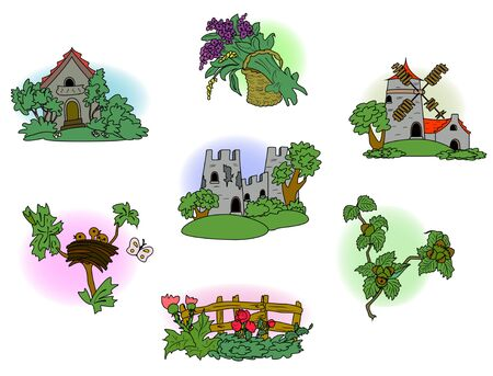 Set of man-made elements of village life. EPS10 vector illustration