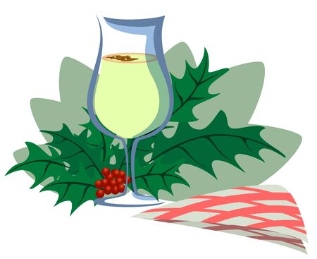 Christmas drink eggnog with cinnamon, mistletoe branch and napkin on light background. Flat design for holiday card or banner. EPS10 vector illustration.