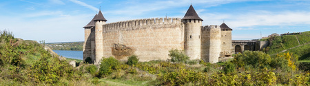 right bank: View of medieval Ukraininan fortress - The Khotyn Fortress is a fortification complex located on the right bank of the Dniester River in western Ukraine. In 2007, the fortress was named one of the Seven Wonders of Ukraine. Editorial