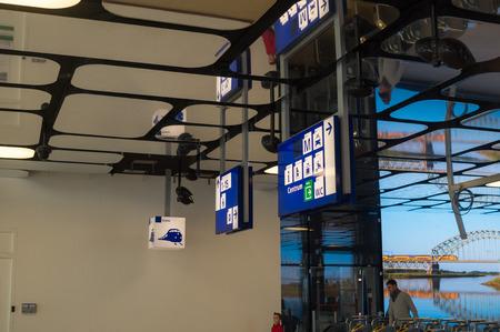 hall monitors: Navigation Information Board in Amsterdam Centraal Train Station Editorial