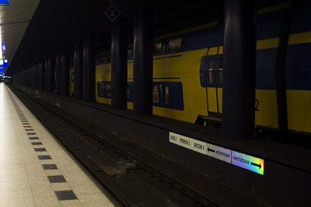 schiphol: Train at Subway Railway Station in Amsterdam Schiphol Editorial