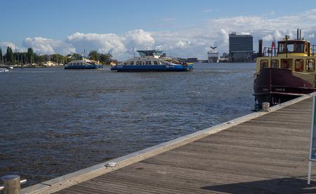 nautical   vessel: Ferry Boat Nautical Vessel in Amsterdam. Editorial