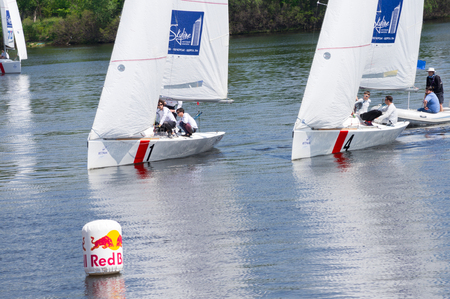 hosted: Kyiv, Ukraine - May 9, 2016: Hetman Cup 2016 (ISAF Grade 2) - International Regatta, held on the Dnieper River in Kyiv, Ukraine. This is the first International sailing competition, hosted in Ukraine.