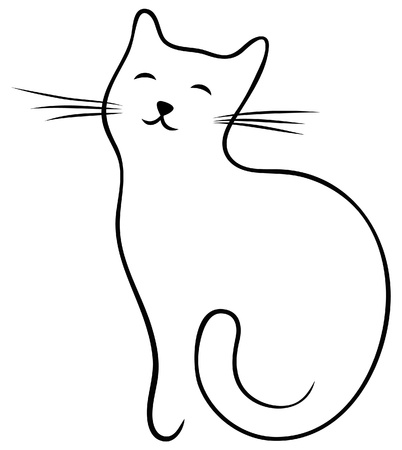 Cat cartoon black line art
