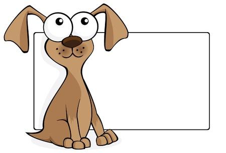 空白記号の付いた犬漫画  イラスト・ベクター素材
