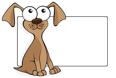 Dog cartoon with a blank sign