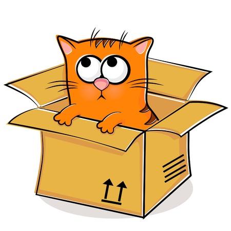 Illustration of nice red kitten in box