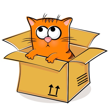 Illustration of nice red kitten in box