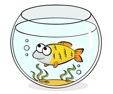 Illustration of aquarium with funny fish