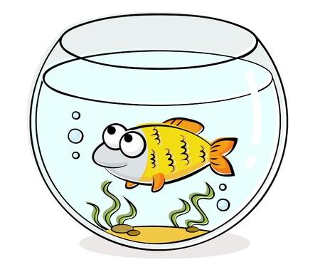 oceans: Illustration of aquarium with funny fish