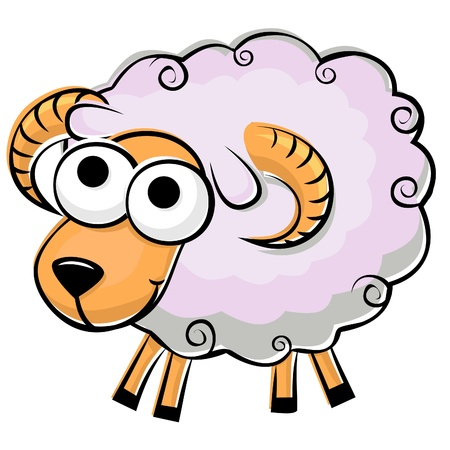 面白い羊はふわふわのイラスト