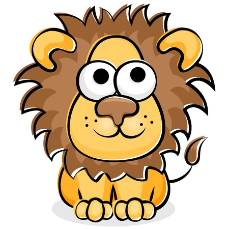 Illustration of cartoon funny happy lion