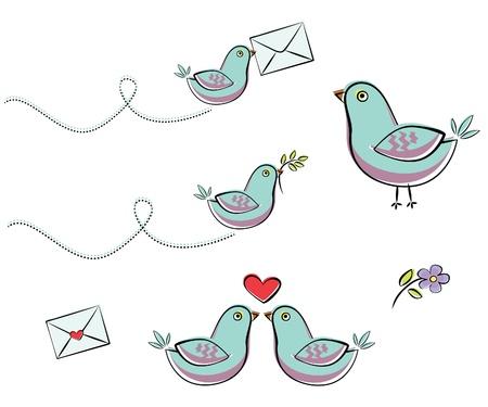 Illustration of blue bird. Set Illustration