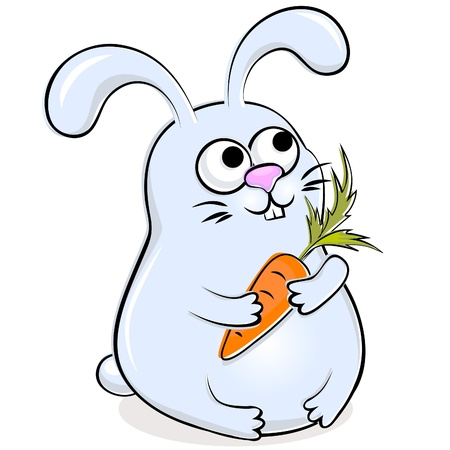 Illustration of blue funny rabbit with carrot
