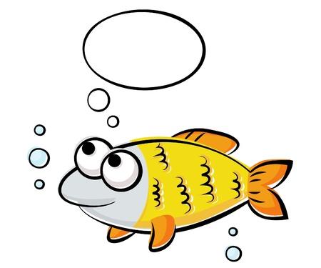 oceans: Illustration of funny yellow fish Illustration