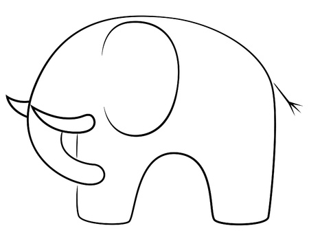 line drawings: Black line elephant Illustration