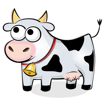 Illustration of funny spotted cow Illustration