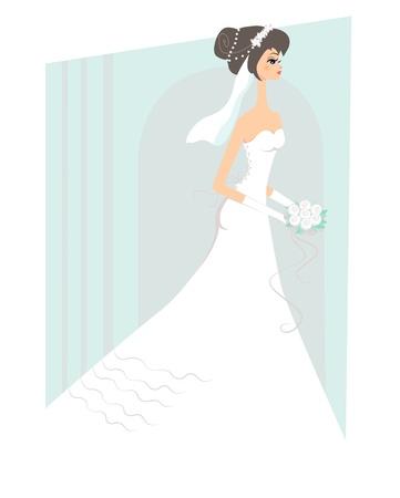 幸せな花嫁の白いウェディング ドレス