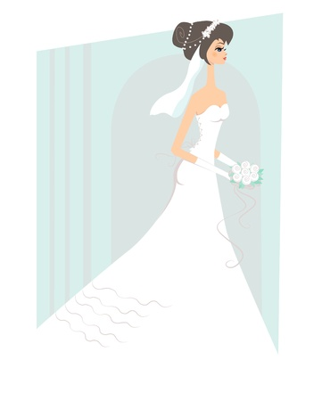 Happy bride in the white wedding dress