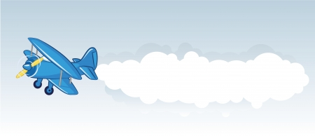 Vector illustration of a blue airplane