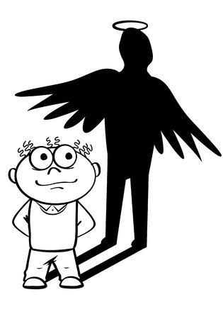 Black and white illustratiof of angel manager Illustration