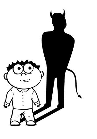 Black and white illustration of devil manager