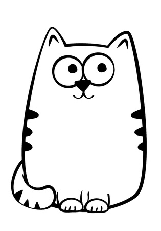 silueta de gato: Ilustración vectorial de un gato atigrado alegre