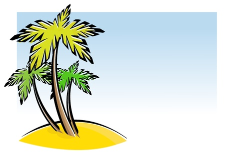 Vector illustration of three palm trees and beach