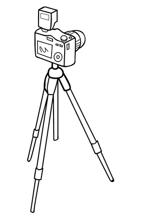 Vector illustration of a camera and a tripod Illustration