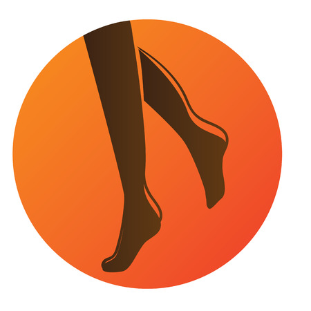 Vector illustration of a bronze silhouette of feet