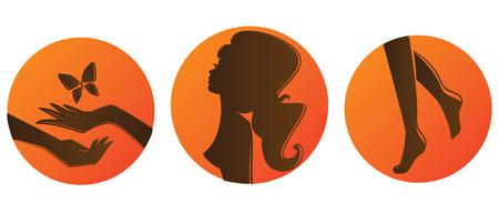 illustration of salon bronze set Illustration