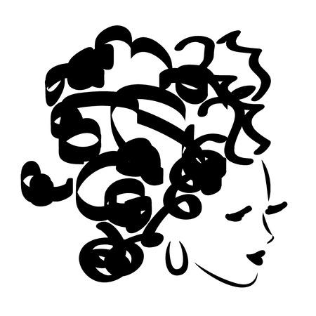 Vector illustration of black and white fashion face Illustration