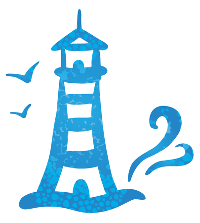 blue sea: Vector illustration of a symbol striped lighthouse and waves