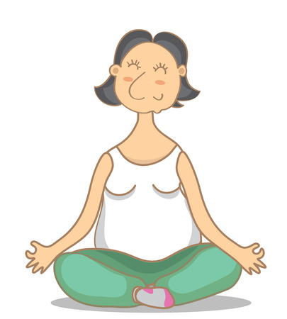 illustration of an yoga grandmoter. Colorful picture