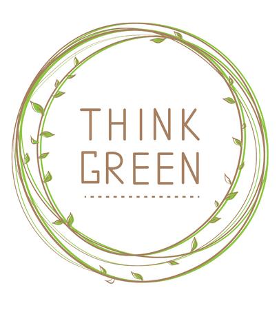 vida natural: Piense el cartel verde. la ilustración de la vida natural