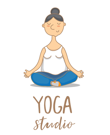 Vector illustration for an yoga studio of a woman and text Illustration