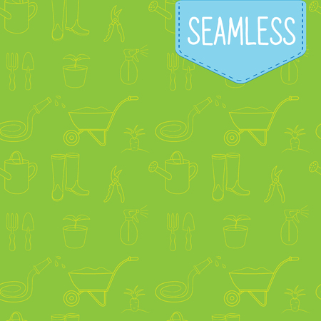Vector seamless green pattern of gardening equipment