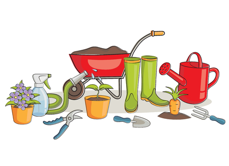 earthenware: Vector illustration of a gardening equipment group