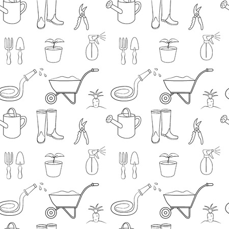 Vector seamless pattern of gardening equipment. Black and white Illustration