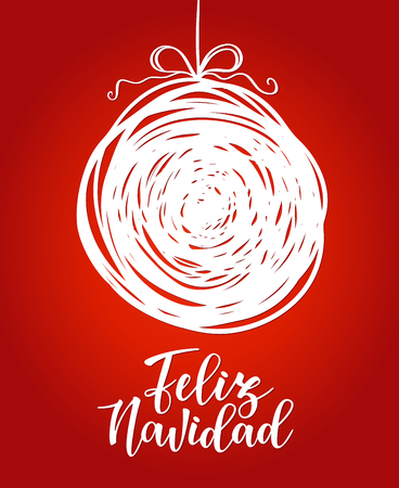 Feliz navidad Spanish typography lettering. Holiday greetings Spanish quote isolated on white. Great for Christmas and New year cards, gift tags.