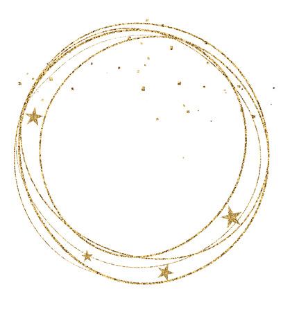 Vector illustration of gold christmas circle frame with stars. Sketched for postcard or celebration design.