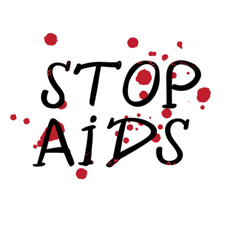 Vector Illustration of first December World Aids Day. Simple symbol for banners, t-shirts, posters. Spots of blood.