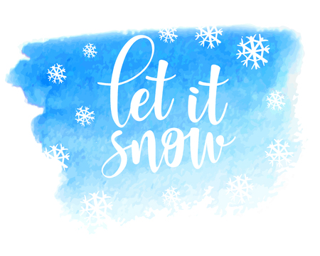 Let it snow vector poster template. Hand written lettering, sparkling typography. Blue background.