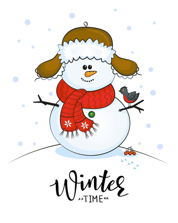 Christmas cards with snowman and winter lettering. Illustration