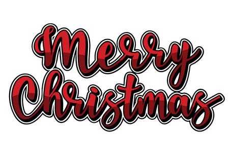 Vector illustration with volume Merry Christmas lettering. Sketched for postcard or celebration design.