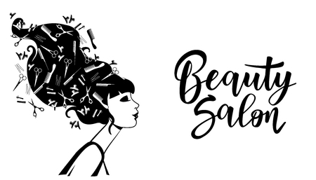 Vector illustration of black woman silhouette. Template for hair or beauty salon, cosmetic procedures, spa center.
