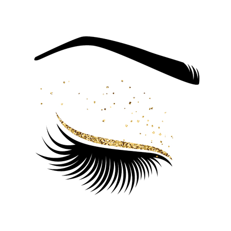 Eyelash extension logo. Vector illustration of lashes. For beauty salon, lash extensions maker. Фото со стока - 92524297