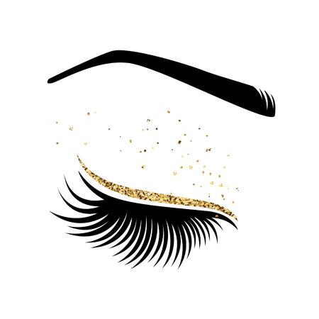 Wimperverlenging logo. Vectorillustratie van wimpers. Voor schoonheidssalon, maker van zweepextensies. Stock Illustratie